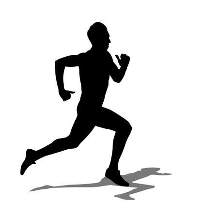 marathon runner: Running silhouettes illustration.