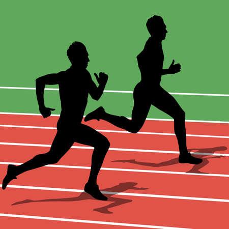 Running silhouettes. Vector illustration. Stock Vector - 22167861