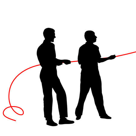 rope vector: Black silhouettes of people pulling rope�. Vector illustration.