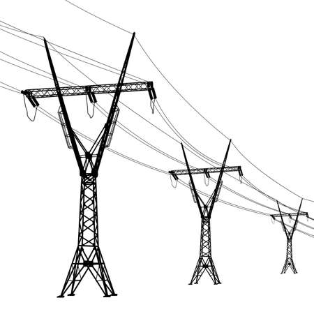 Silhouette of high voltage power lines. Vector  illustration.