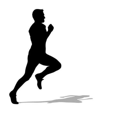 winner man: Running silhouettes. Vector illustration.