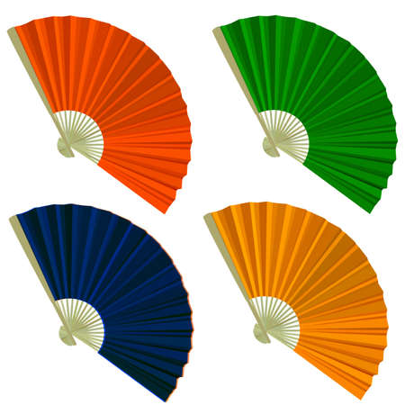 open fan: Set traditional Folding Fans. Vector illustration.