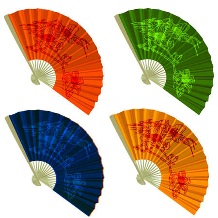 open fan: Set traditional Folding Fans with flowers. Vector illustration.