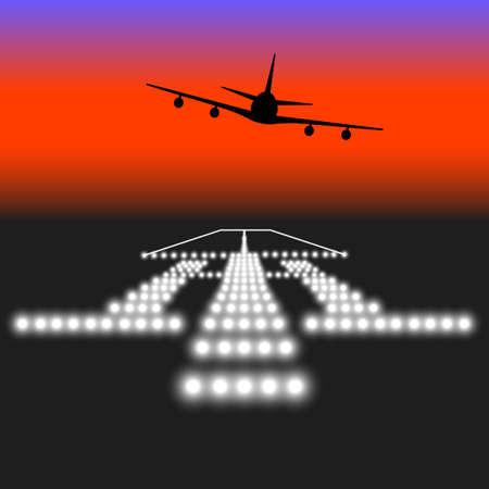 Landing lights. Vector illustration.
