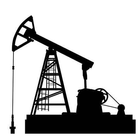 Oil pump jack. Oil industry equipment. Vector illustration. Çizim