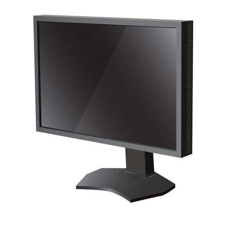 Black lcd tv  monitor on white background. Vector illustration Stock Vector - 22886720