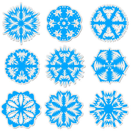 Set of snowflakes, vector illustration. Vector