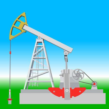 Oil pump jack. Oil industry equipment. Vector illustration. Illustration