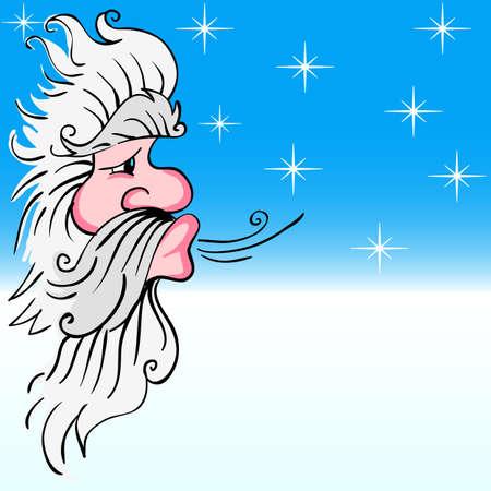 Santa Claus que sopla el viento
