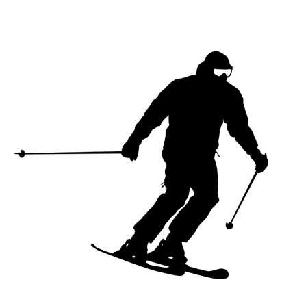 Mountain skier  speeding down slope. sport silhouette. Vector