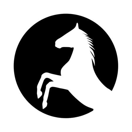 thoroughbred horse: rearing up horse silhouette Illustration