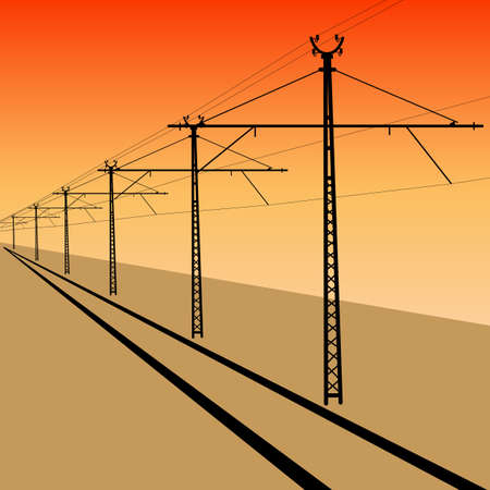 conjoin: Railroad overhead lines. Contact wire. illustration. Illustration