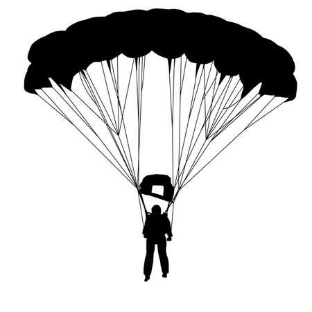 Skydiver, silhouettes parachuting illustration Vector