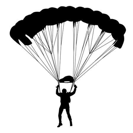 fallschirm: Skydiver, Fallschirmspringen Silhouetten Illustration