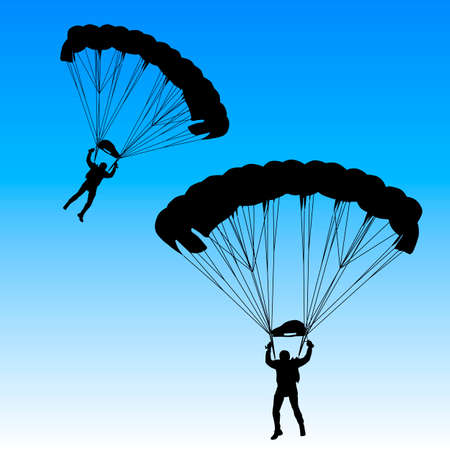 skydiver: Skydiver, silhouettes parachuting illustration