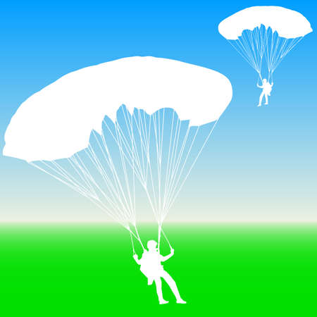 parachuting: Skydiver, silhouettes parachuting illustration