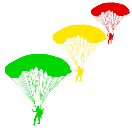 parachuting: Skydiver, silhouettes parachuting illustration