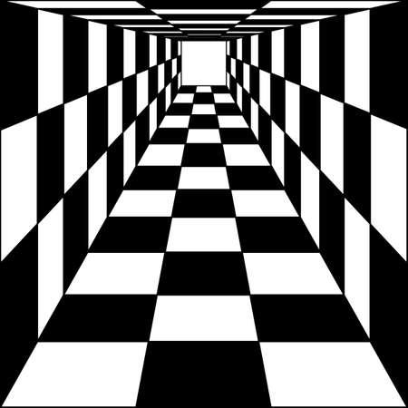 抽象的な背景、チェス回廊トンネル。イラスト。  イラスト・ベクター素材