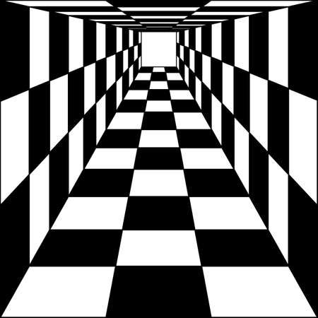 abstract background, chess corridor tunnel. illustration.