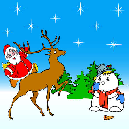 santa claus rides on deer and snowman Vector