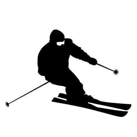 Mountain skier  speeding down slope. sport silhouette. Illustration