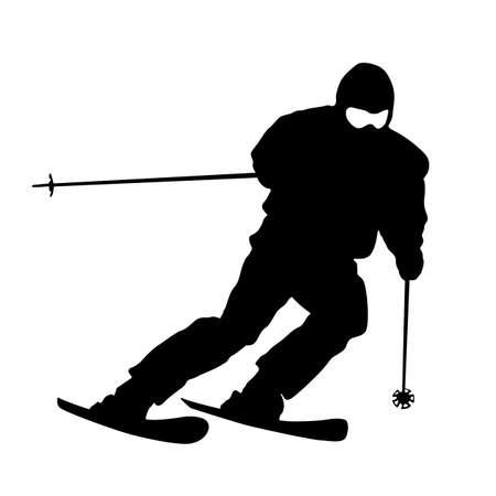 Mountain skier  speeding down slope. sport silhouette. Illustration