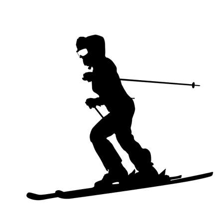 slalom: Mountain skier  speeding down slope. sport silhouette. Illustration