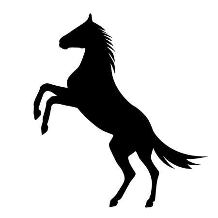 cabeza de caballo: encabritado caballo silueta Vectores