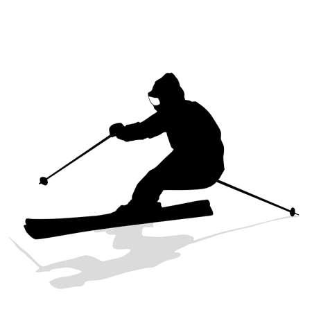 slalom: Mountain skier  speeding down slope. sport silhouette. Illustration