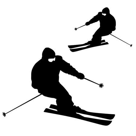 ski slope: Mountain skier  speeding down slope. sport silhouette. Illustration