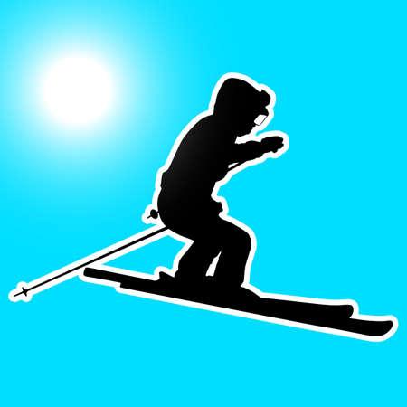 the slope: Mountain skier  speeding down slope. sport silhouette. Illustration