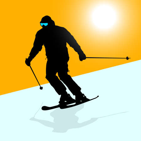 Mountain skier  speeding down slope. sport silhouette. Vector