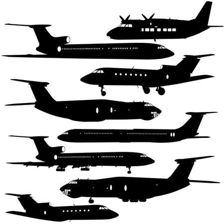 avia: Collection of different  aircraft silhouettes.  vector illustration