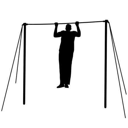 Silhouette of an athlete on the horizontal bar. Vector illustration. Vector