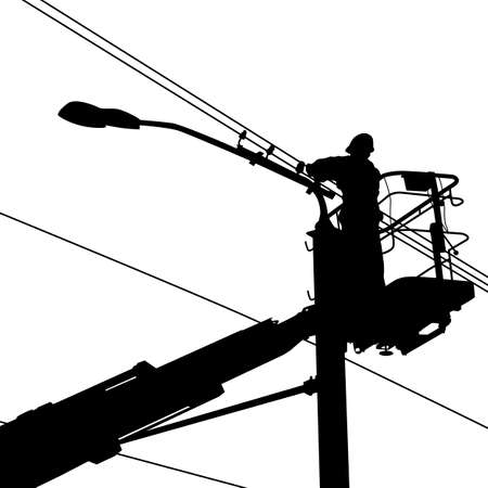 safety harness: electrician worker