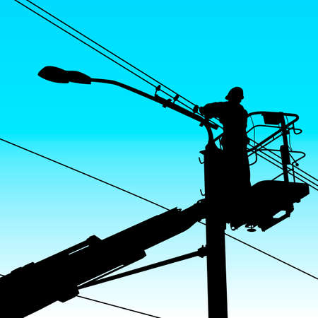 utility pole: electrician worker