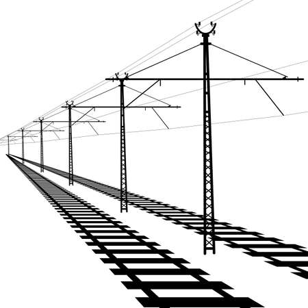 Railroad overhead lines. Contact wire. Vector illustration. Vector