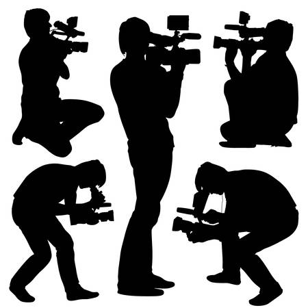 Cameraman with video camera. Silhouettes on white background. Vector illustration. Vector