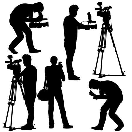 Cameraman with video camera. Silhouettes on white background. Vector illustration. Illustration