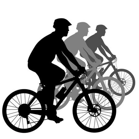 Silhouette of a cyclist male.  vector illustration. Vector