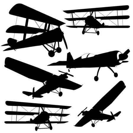 avia: Collection of different combat aircraft silhouettes.  vector illustration for designers