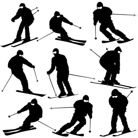 Mountain skier  man speeding down slope. Vector sport silhouette. Imagens - 23981659