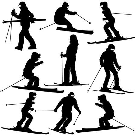 Mountain skier   woman speeding down slope. Vector sport silhouette. Vector