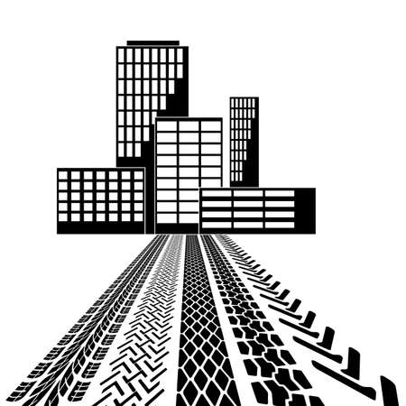 Set of detailed tire prints, leading to the building. Vector illustration Stock Vector - 23981663