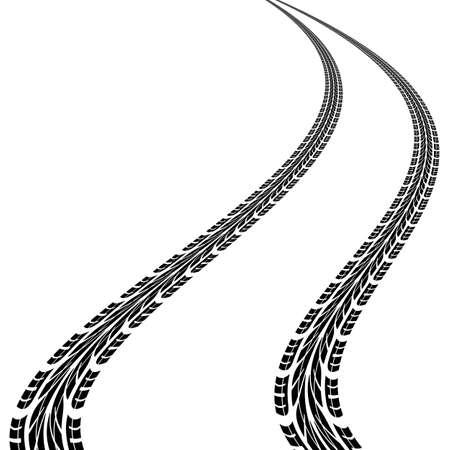 motorizado: impresiones de neumáticos, ilustración vectorial Vectores