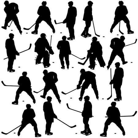 Set of silhouettes of hockey player. Isolated on white. Vector  illustrations. Vector