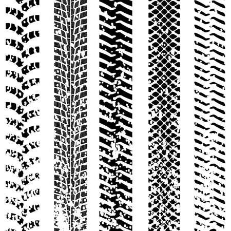 track marks: Set of detailed tire prints, vector illustration
