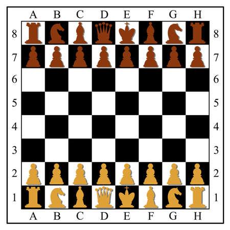 チェスの駒でチェス盤。ベクトル イラスト。