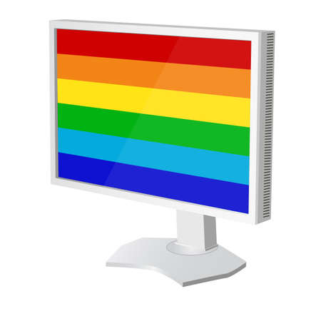 lcd tv  monitor with pride flag on the screen. Vector illustration