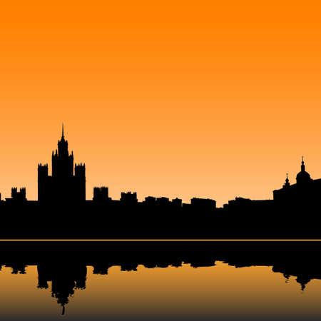 moskva:  Moscow city silhouette skyline vector illustration Illustration